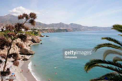 View from above cliffs by the Mediterrean coast & mountains