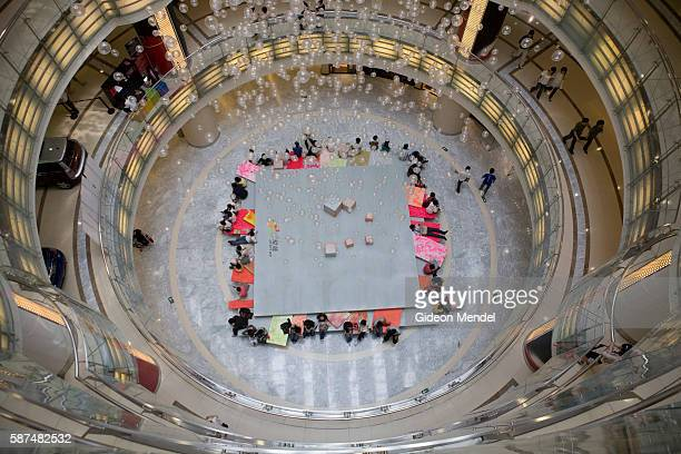 A view from above in Joy City the newest shopping mall to open in Xidan the main shopping district in Beijing The 13 storey new mall comes equipped...