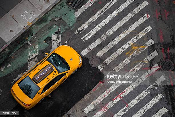 View From Above of a Yellow Cab in New York City