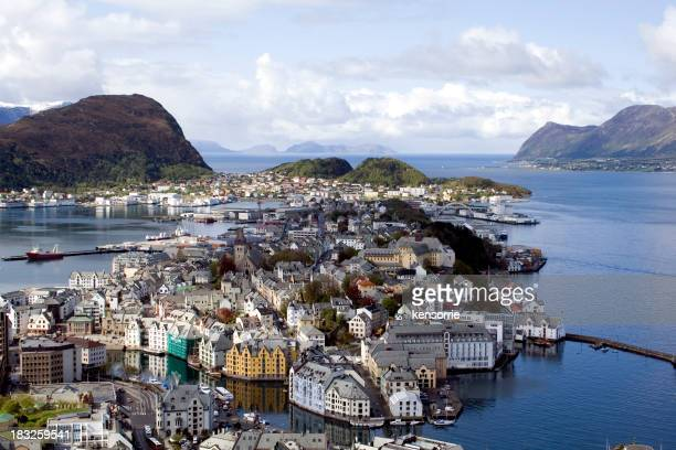 View from above of Alesund, Norway during the day