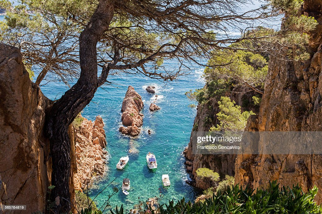 View from above of boats in the Costa Brava
