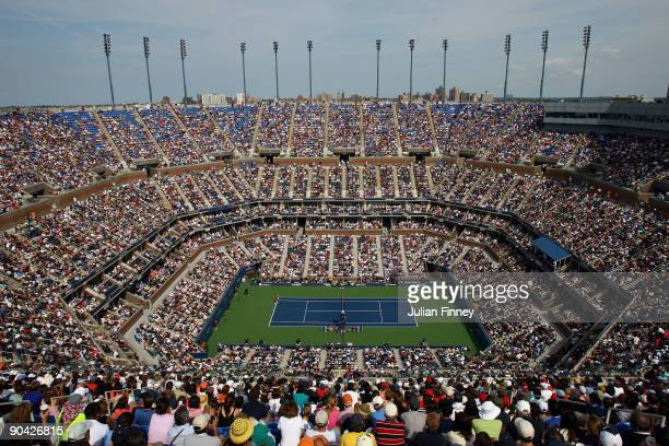 A view from above of the Melanie Oudin of the United States vs Nadia Petrova of Russia match at Arthur Ashe Stadium during day eight of the 2009 US...