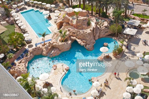 View from above of two pools and boulders