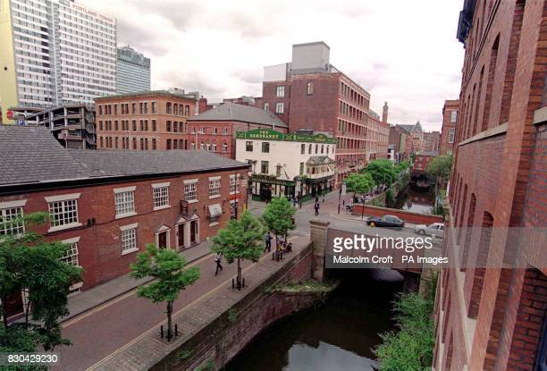 A view from apartments opposite looking down on Canal Street Manchester a famous gay district of the city