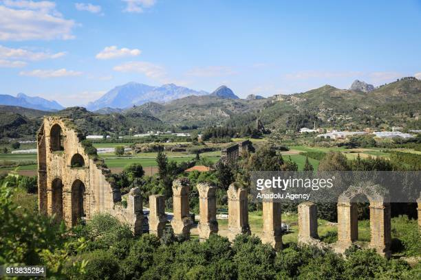 A view from aqueduct of Aspendos in Antalya Turkey on April 09 2017 Antalya has been a cause of attraction to different civilizations from the...