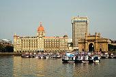 View From Arabian Sea Of Taj Intercontinental Hotel And Gateway Of India At Apollo Bunder Bombay Mumbai Maharashtra India