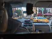 View from back seat of a cab in New York
