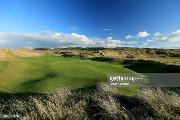 A view from behind the green of the new 572 yards par 5 seventh hole designed by Martin Ebert on the Dunluce Course at Royal Portrush Golf Club the...