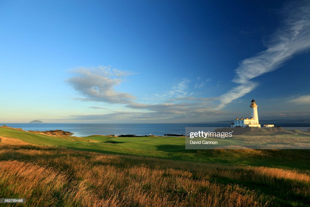 A view from behind the green of the redesigned 248 yards par 3 ninth hole of the Ailsa Course at the Trump Turnberry Resort on July 19 2016 in...