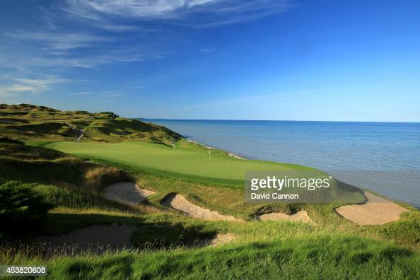 A view from behind the green on the 188 yards par 3 3rd hole 'O'Man' on the Whistling Straits 'Straits' Course venue for the 2015 PGA Championship on...
