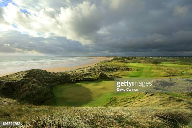 A view from behind the green on the 374 yards par 4 15th hole at the Trump International Golf Links Doonbeg on June 5 2017 in Doonbeg County Clare...