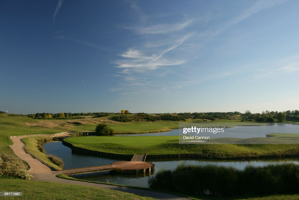 A view from behind the green on the 450 metre par 5 18th hole at Golf National on October 10 2005 in Paris France