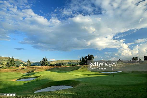 A view from behind the green on the 513 yards par 5 18th hole 'Dun Roamin' on The PGA Centenary Course at The Gleneagles Hotel Golf Resort will be...