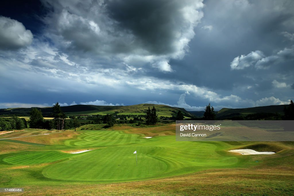 A view from behind the green on the 513 yards par 5 18th hole 'Dun Roaming' on The PGA Centenary Course at The Gleneagles Hotel Golf Resort which...