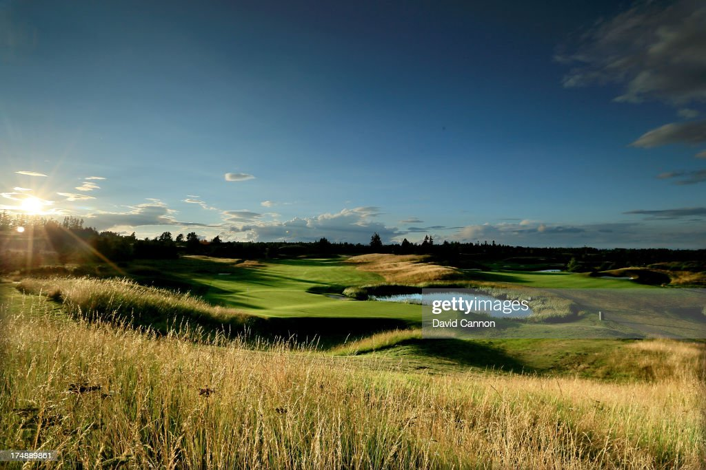 A view from behind the green on the 516 yards par 5 2nd hole 'Wester Greenwells' on The PGA Centenary Course at The Gleneagles Hotel Golf Resort...