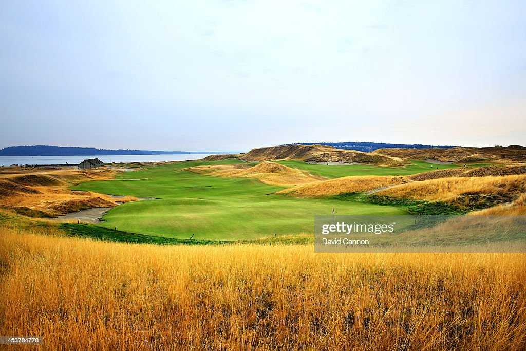 A view from behind the green on the 541 yards par 5 18th hole at Chambers Bay Golf Course the venue for the 2015 US Open Championship on August 13...