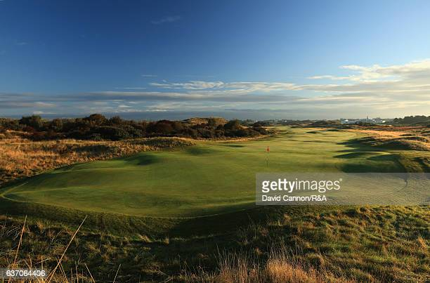 A view from behind the green on the 544 yards par 5 15th hole at Royal Birkdale Golf Club the host course for the 2017 Open Championship on October...