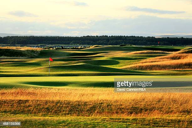 A view from behind the green on the par 4 12th hole looking back to the tee and the 11th green on the Old Course in St Andrews on July 29 2014 in St...
