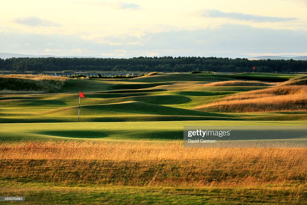 A view from behind the green on the par 4, 12th hole with the 11th green in the distance on the Old Course at St Andrews venue for The Open Championship in 2015, on July 29, 2014 in St Andrews, Scotland.