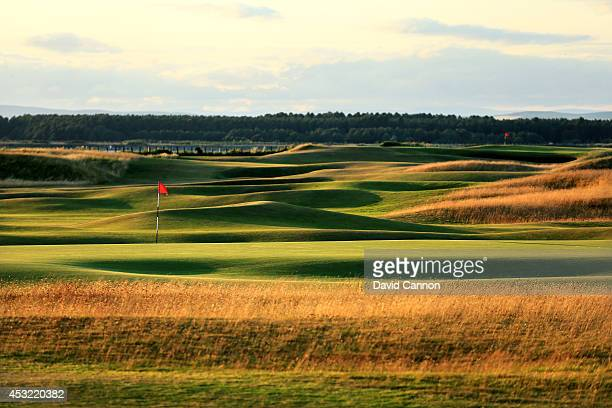 A view from behind the green on the par 4 12th hole with the 11th green in the distance on the Old Course at St Andrews venue for The Open...