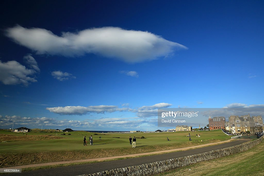 A view from behind the green on the par 4, 17th hole 'The Road Hole' on the Old Course at St Andrews venue for The Open Championship in 2015, on July 29, 2014 in St Andrews, Scotland.