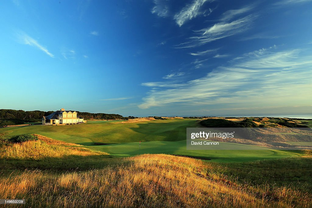 A view from behind the green on the par 4 18th hole on the Kingsbarns Golf Links Course at Kingsbarns Golf Links on August 3 2012 in St Andrews...