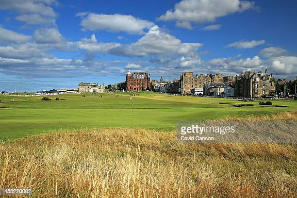 A view from behind the green on the par 4 first hole on the Old Course at St Andrews venue for The Open Championship in 2015 on July 29 2014 in St...