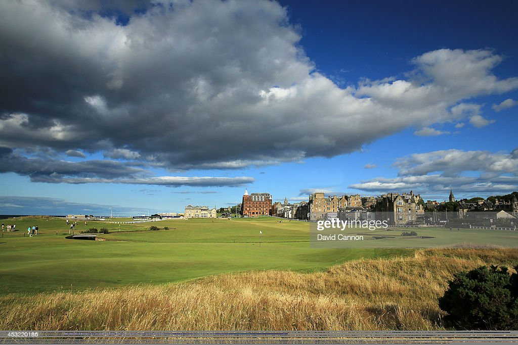 A view from behind the green on the par 4, first hole on the Old Course at St Andrews venue for The Open Championship in 2015, on July 29, 2014 in St Andrews, Scotland.
