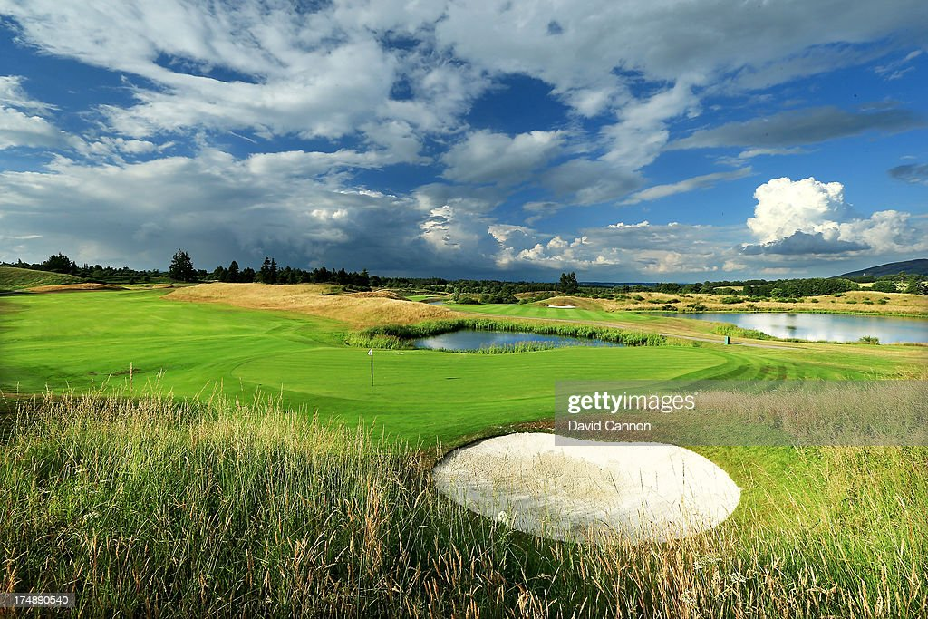 A view from behind the green on the par 5 2nd hole 'Wester Greenwells' on The PGA Centenary Course at The Gleneagles Hotel Golf Resort which will be...