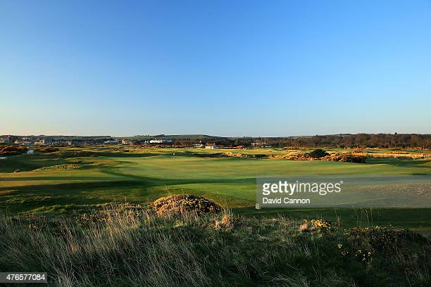 A view from behind the green on the par 5 5th hole on the Old Course at St Andrews venue for the 2015 Open Championship on April 21 2015 in St...