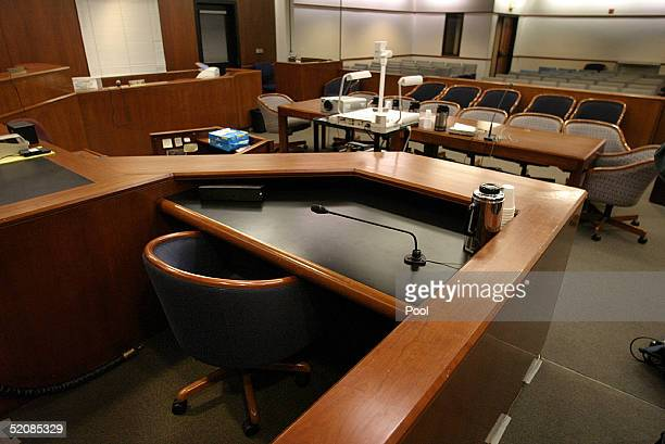 A view from behind the witness stand looking towards the gallery in Courtroom which will be full of prospective jury candidates one day before jury...