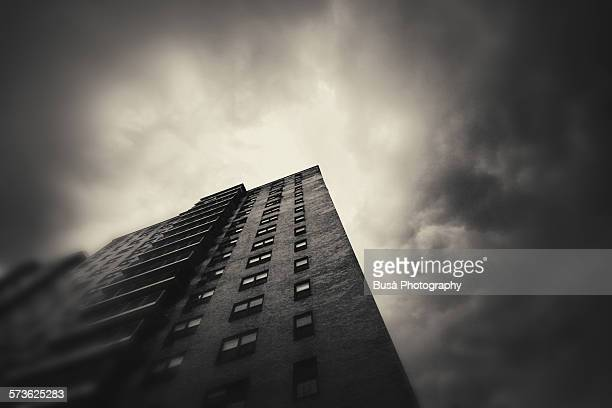 View from below of a housing project in Harlem, NY
