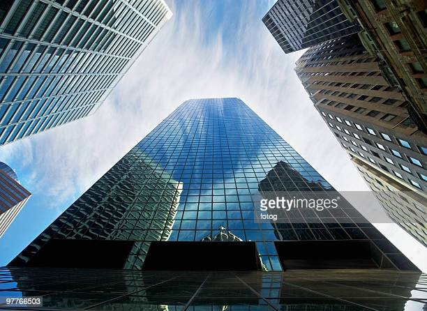 View from below skyscrapers