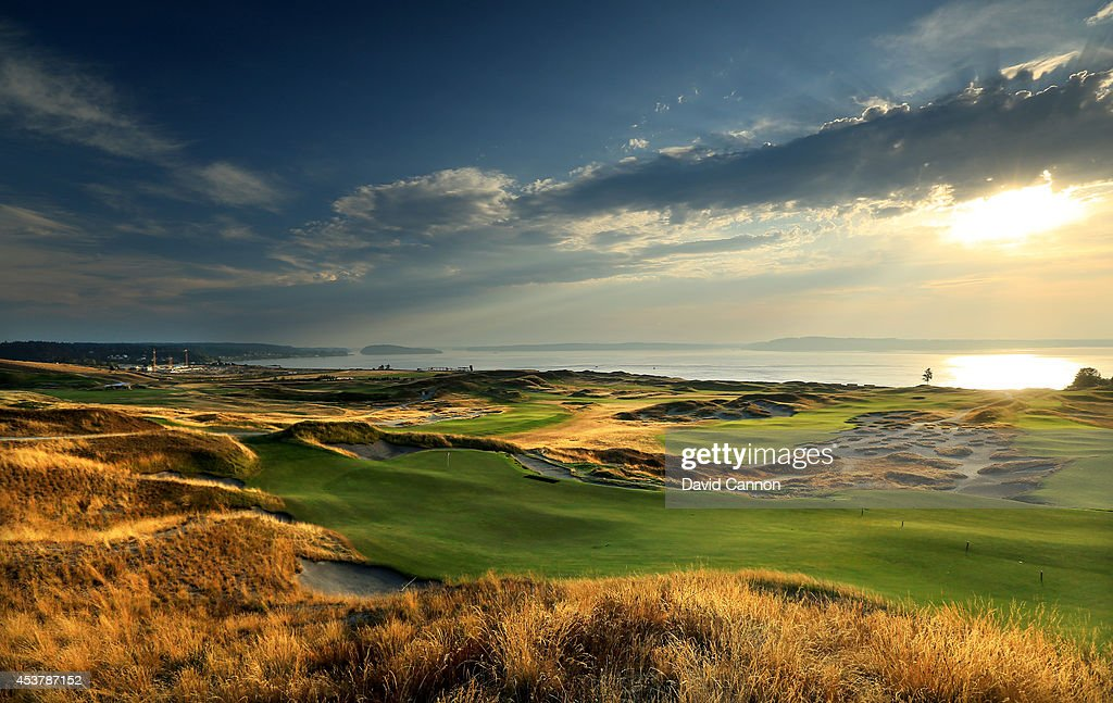 A view from beside the green on the 485 yards par 4 13th hole at Chambers Bay Golf Course the venue for the 2015 US Open Championship on August 12...