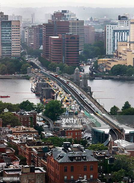 A view from Boston looking towards the Cambridge side as the construction project as well as traffic continues on the Longfellow Bridge
