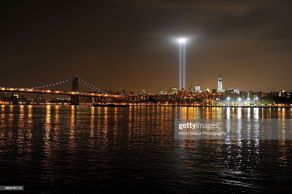 A view from Brooklyn of New York City and the 'Tribute In Light' marking the twelfth anniversary of the terrorist attacks at the World Trade Center on September 11, 2013 in New York City. New York City and the nation are commemorating the twelfth anniversary of the September 11, 2001 attacks which resulted in the deaths of nearly 3,000 people after two hijacked planes crashed into the World Trade Center, one into the Pentagon in Arlington, Virginia and one crash landed in Shanksville, Pennsylvania.
