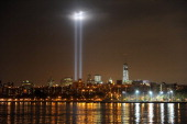 A view from Brooklyn of New York City and the 'Tribute In Light' marking the twelfth anniversary of the terrorist attacks at the World Trade Center...