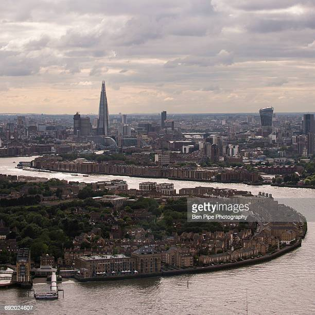 View from Canary Wharf over River Thames & London Skyline, London, UK