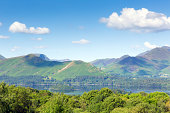 View from Castlerigg Hall Keswick Lake District Cumbria to Derwent Water and Catbells mountains and fells on a summer day with blue sky and sunshine