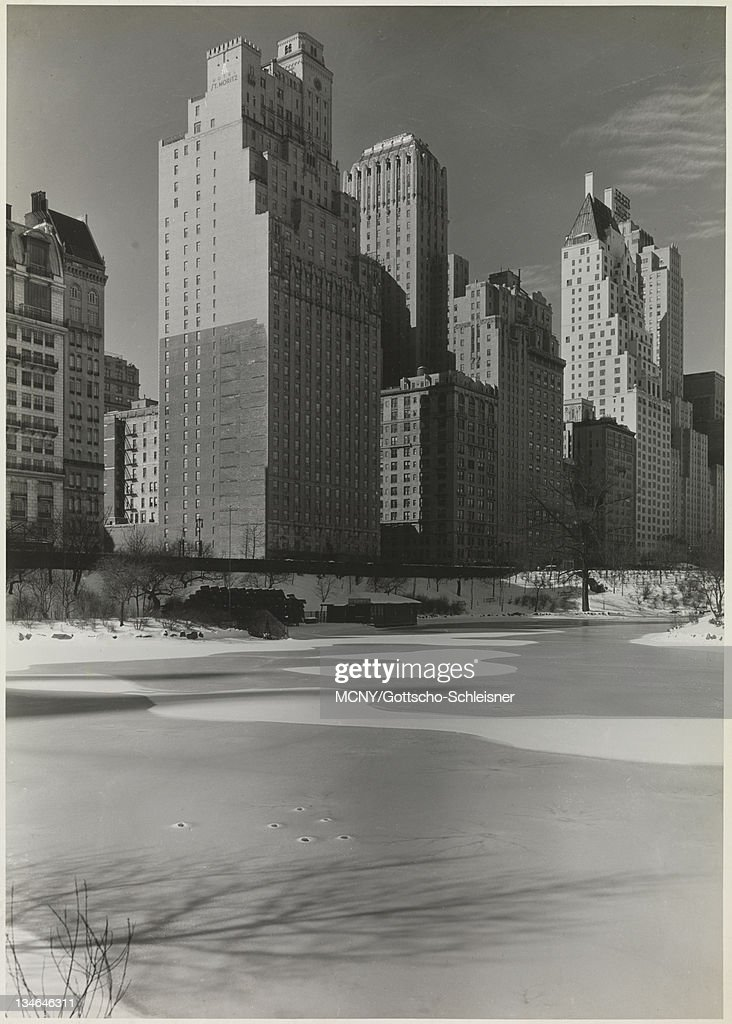 View From Central Park Facing South Over The Frozen Pond Towards Hotels Of
