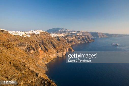 View from clifftop, Imerovigli, Santorini, Greece