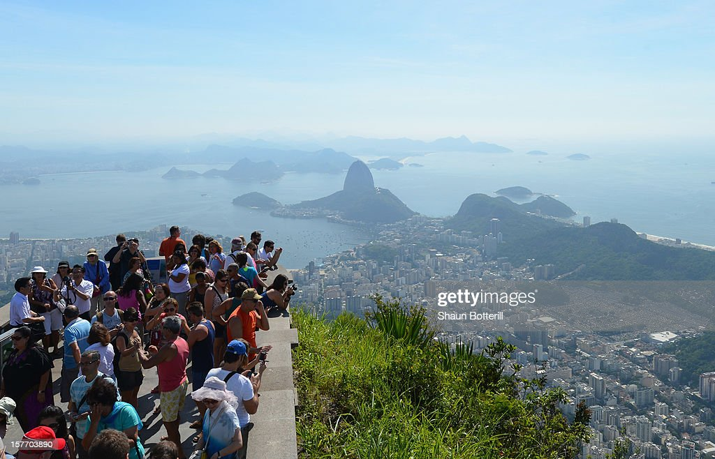 A view from Corcovado on December 5, 2012 in Rio de Janeiro, Brazil.