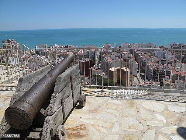 View from Cullera castle with one of the old cannons that defended the city from attack by sea from fortress built in the thirteenth century Valencia...