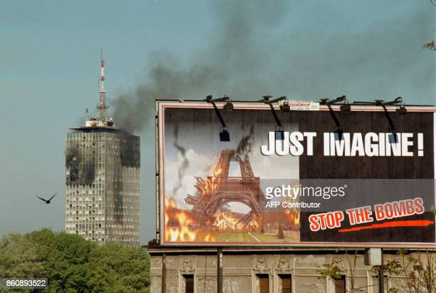 View from downtown Belgrade to the building of the headquarters of Yugoslav President Slobodan Milosevic's Socialist Party which was hit during the...