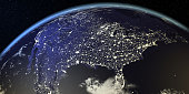 USA View From Earth At Night With City Lights. All the world map textures are originally from NASA. ( 3d render )