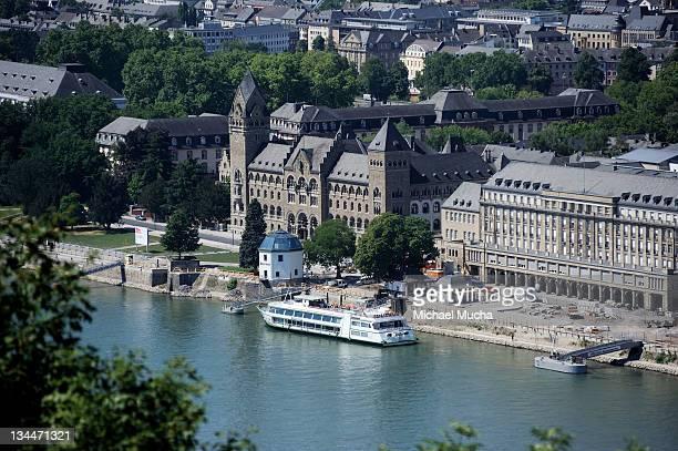 View from Ehrenbreitstein Fortress, Koblenz, Rhineland-Palatinate, Germany, Europe