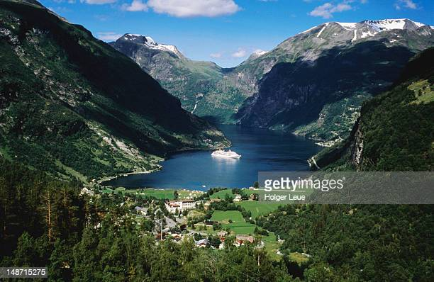 View from Flydalsjuv viewpoint to Geirangerfjord with cruiseship MS Europa.
