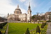 View from formal garden of St. Paul's Cathedral, London