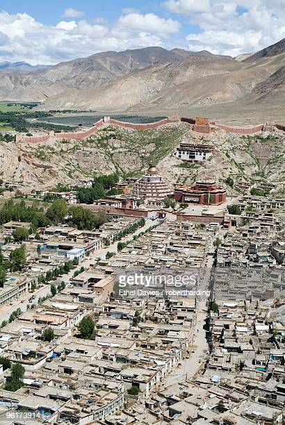 View from Fort, including Kumbum, Gyantse, Tibet, China, Asia