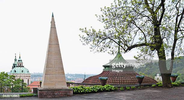 View from Fortress Garden of Prague Castle over the obelisk to St Niklas About 2005
